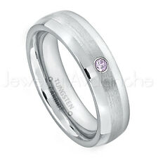 0.07ct Amethyst Solitaire Ring, February Birthstone, Tungsten Wedding Band #006