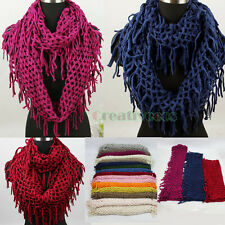 Hollow Out Fishnet Tassel Knit Shawl Infinity Loop Cowl Eternity Scarf 16 Colors