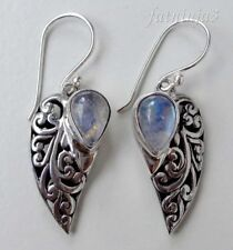 Gemstone Solid Silver, 925 Balinese Filigree Design Dangle Earring 27816