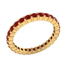 0.99 ct Round Cut Red Ruby Solid Gold Full Eternity Wedding Band Ring Size 7