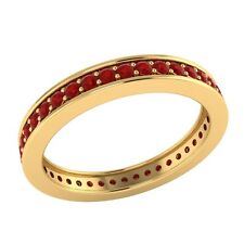 0.60 ct Round Cut Red Ruby Solid Gold Full Eternity Wedding Band Ring Size 7