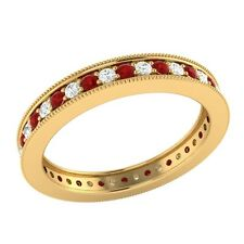 0.60 ct Red Ruby & Sapphire Solid Gold Wedding Full Eternity Band Ring Size 7