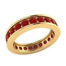 1.60 ct Round Cut Red Ruby Solid Gold Full Eternity Wedding Band Ring Size 7