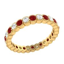 0.98 ct Red Ruby & Sapphire Solid Gold Wedding Full Eternity Band Ring Size 7