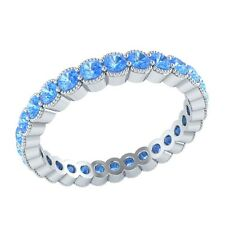 0.98 ct Round Cut Blue Topaz Solid Gold Wedding Full Eternity Band Ring Size 7