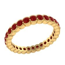 0.98 ct Round Cut Red Ruby Solid Gold Wedding Full Eternity Band Ring Size 7