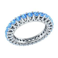 1.40 ct Round Cut Blue Topaz Solid Gold Full Eternity Wedding Band Ring Size 7