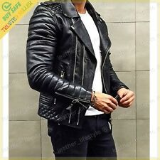 New Men's Genuine Lambskin Leather Motorcycle Jacket Bomber Biker Jacket KB57