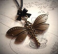 Steampunk Style Lolita Dragonfly necklace. Black or Bronze Bow. Antique bronze.