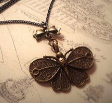 Steampunk Style Lolita Butterfly necklace. Black or Bronze Bow. Antique bronze.