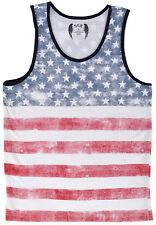 SGR Tank Top Flag Americana Sleeveless Mens Stars White Shirt Authentic Cotton