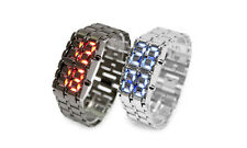 Volcanic Lava Iron Samurai Metal LED Wrist Watch Faceless Bracelet Sport Watch