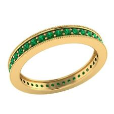 0.60 ct Round Green Emerald Solid Gold Wedding Full Eternity Band Ring Size O