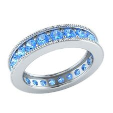 1.60 ct Round Cut Blue Topaz Solid Gold Wedding Full Eternity Band Ring Size O
