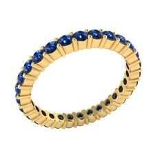 0.99ct Round Cut Blue Sapphire Solid Gold Full Eternity Wedding Band Ring Size O
