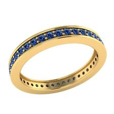 0.60ct Round Cut Blue Sapphire Solid Gold Full Eternity Wedding Band Ring Size O