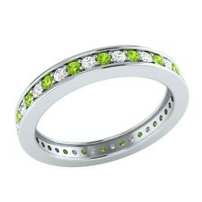 0.60 ct Peridot & Sapphire Solid Gold Full Eternity Wedding Band Ring Size O