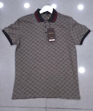 Gucci Polo Shirt, Mens Gray Short Sleeve Polo T-Shirt - GG Print