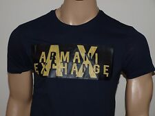 Armani Exchange Authentic Embroidered Logo T Shirt Navy NWT