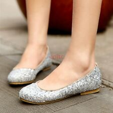 2017 Sequin Round Toe Mary Janes Slip On Loafers Womens Ballet Flats Boat Shoes