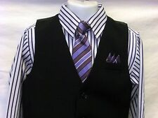 Vangogh boys white & lilac stripe 4 piece long sleeve dress set size 14