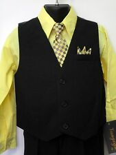 Vangogh boys light yellow long sleeve 4 piece dress set Size 5-7