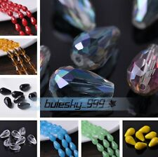 10~30pcs 18X12mm Big Teardrop Faceted Crystal Glass Loose Spacer Beads Findings