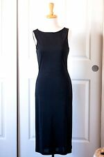 Lauren Ralph Lauren Silk Black Jeweled Long Sleeveless Career Dress NYE Small S
