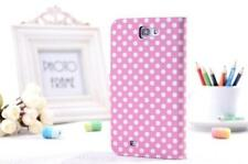 Pink Polka Dot Wallet Flip Leather Phone Case For Samsung Galaxy Note 2 N7100