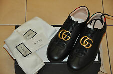 Authentic New Men's Gucci Black Leather Sneaker with GG