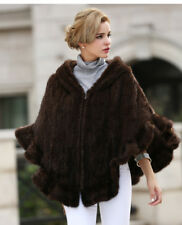 100% REAL KNITTED MINK FUR CAPPA COAT JACKET CAPE PONCHO WITH HOODED FUR CLOTHIN