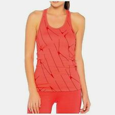 Womens Nike Pattern Tank Vest Racer Back Running Gym Top - Coral/Pattern-XS S M