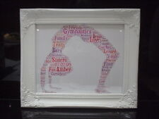 LUXURY GYMNASTIC word art picture with frame mount diamontes