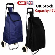 Large Capacity Light Weight Wheeled Shopping Trolley Push Cart Bag wheels UK BY