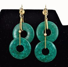 Old Chinese Carved Carving Stained Double Ring Earrings