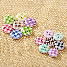 50Pcs 13/15mm Mixed Lattice Pattern 2 Holes Wood Sewing Buttons Scrapbooking