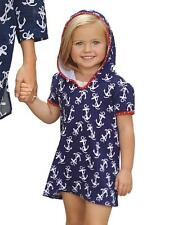 Mud Pie Girls Hooded Anchor Print Beach Swimsuit Cover-up Matches Mom 1152064