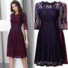 Women Vintage 1940's 1950's Cocktail Evening Party Floral Lace Pleated Dress