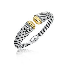 18K Yellow Gold and Sterling Silver Diamond Decorated Cuff Bangle