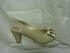 Ladies Anne Michelle Open Toe Slingback Sandal With Bow Detail In Beige 'L2209'