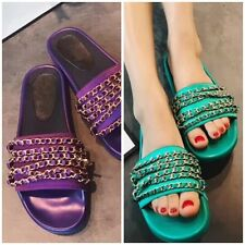 Chain Satin Mules Slip-On Flats Slippers Sandals Shoes Purple Green Pink Black
