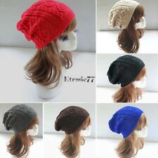 Women Winter Warm Knit Crochet Beanie Hat Skull Ski Cap Baggy Cable Knit EA77
