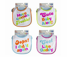 FIRST STEPS TERRY BABY TODDLER BIB VELCRO WATERPROOF FEEDING COTTON BLEND