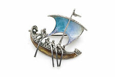 Vintage Sterling Silver Enameled Sailing Ship Pin Brooch with Marcasite Stones