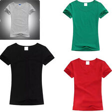 Womens Short Sleeve Color Tops T Shirt Ladies T-Shirt Tops O-neck Solid Color