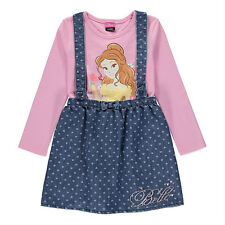 George Girls Official Disney Beauty And The Beast Belle Pinafore Dress Set