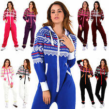 New Women Ladies( AZTEC PRINT HOODED )Zip Up Onesie All In One Jumpsuit Playsuit