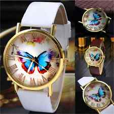 Fashion Butterfly Womens Ladies Watches Leather Strap Analog Quartz Wrist Watch