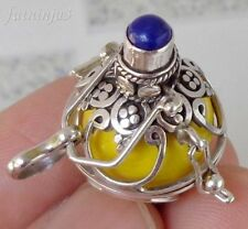 Lapizlazuli Solid Silver, 925 Balinese Brass Mystic Chime Pendant 24154