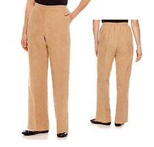 Alfred Dunner Pullon Pants El Dorado Saddle faux suede polyester size 10 16P NEW
